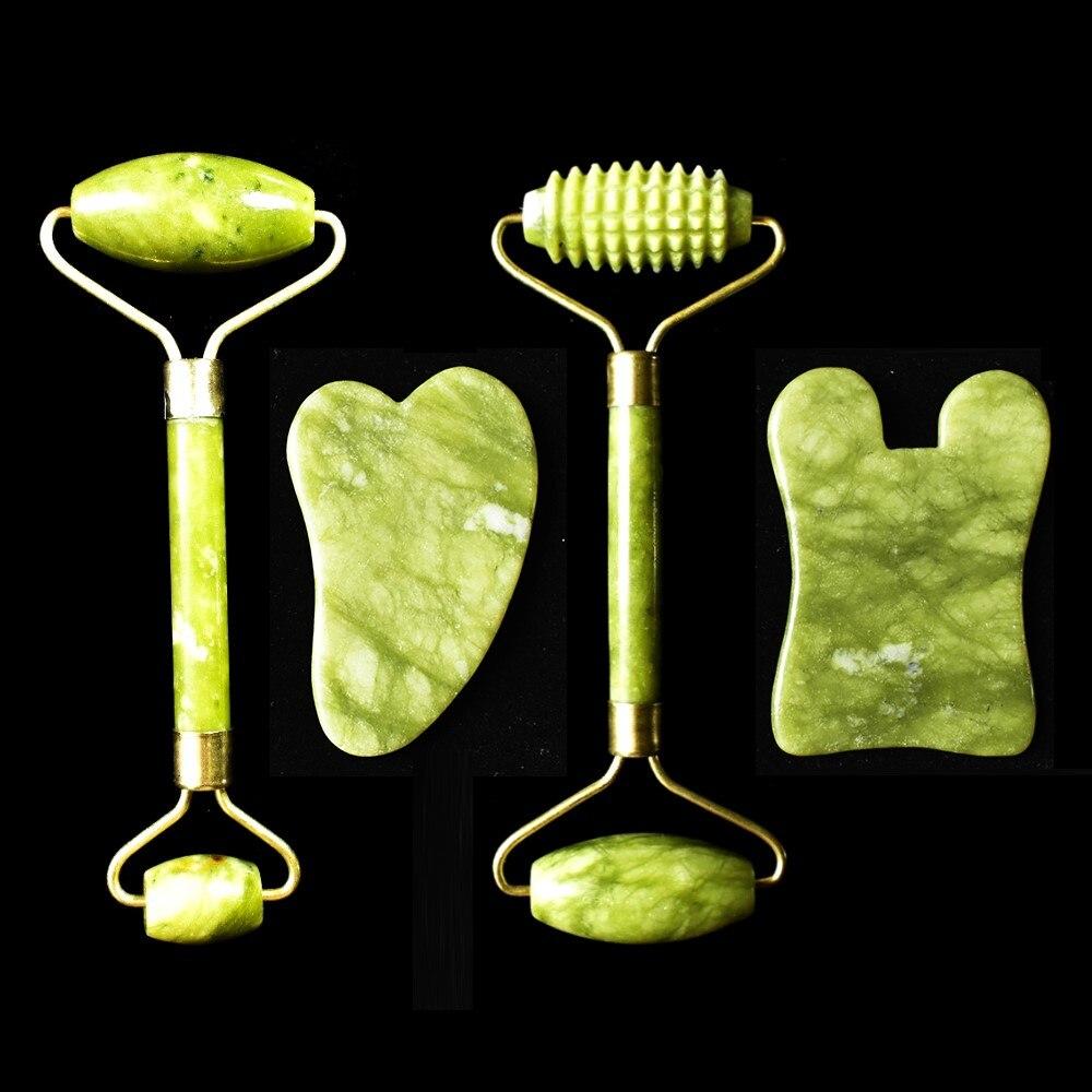 Natural Jade Massage Roller Guasha Board Set SPA Scraper Stone Facial Anti-wrinkle Treatment Body Health Care Tools