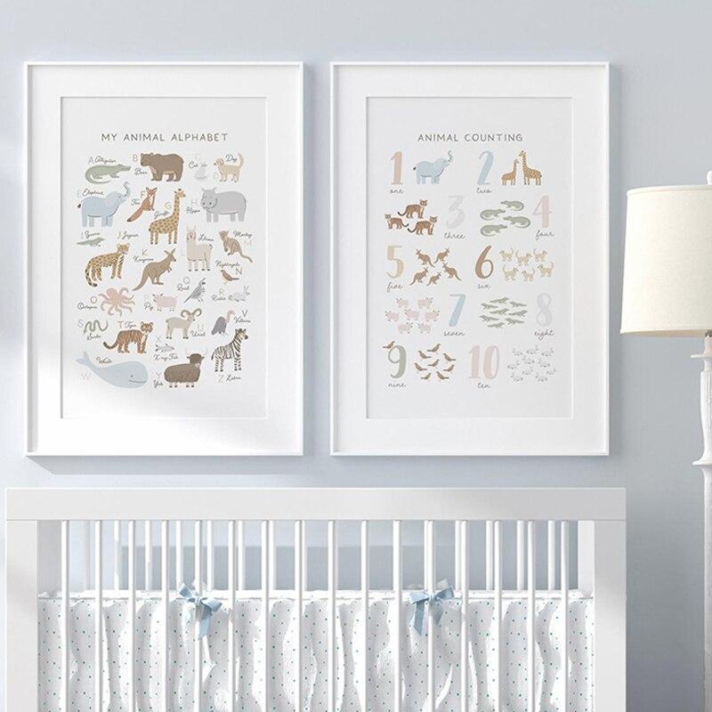 Impresiones en lienzo de letras y animales para decoración de habitación de...