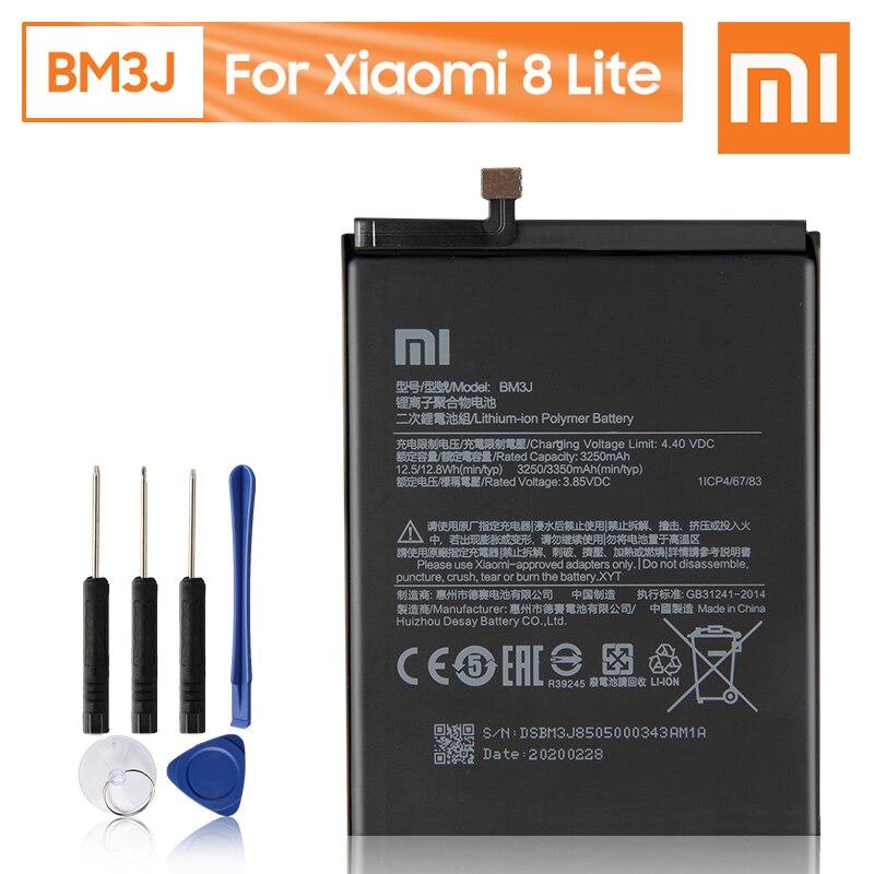 Batería Original de repuesto para teléfono Xiao Mi BM3J para Xiaomi 8 Lite MI8 Lite, batería recargable genuina de 3350mAh