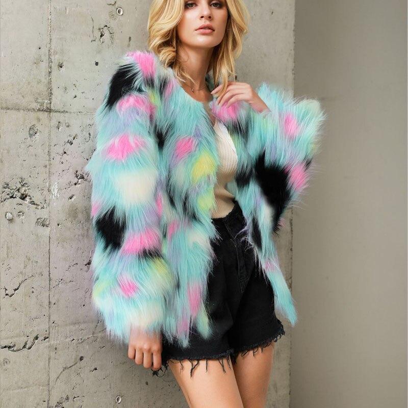 Fluffy Faux Fur Coat Short Furry Jacket Women 2XL 3XL Plus Size Coloful Casual Winter Warm Fashion Overcoats Autumn Slim Outwear