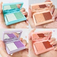 two tone glitter eye shadow palette earth color mashed potato eyeshadow powder long lasting easy to color eye makeup tslm1