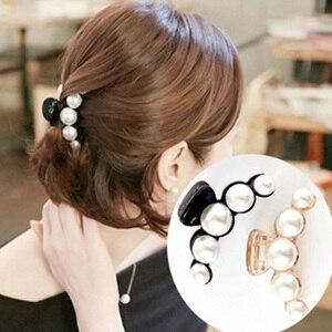 Richkeda Store New 2021 Fashion Women Hair Crab Hair Claws Imitation Pearl Lady Head wear Accessories Hairpins Plastic Elastic