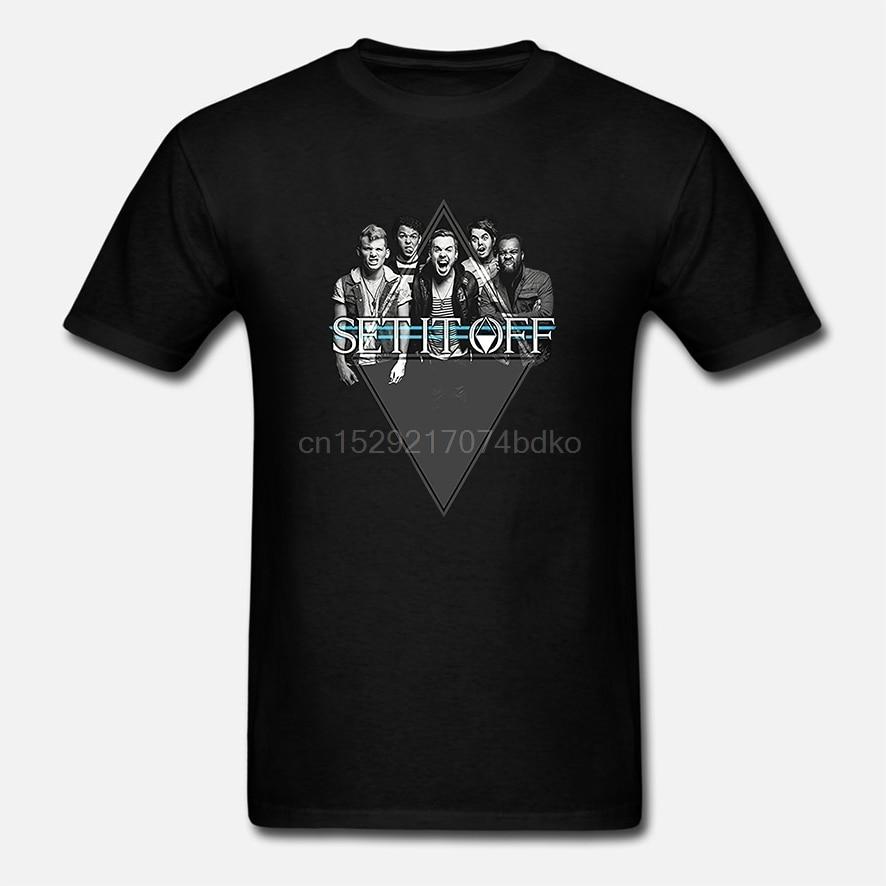 Set It Off camiseta diamante foto banda Logo hombre negro (2)