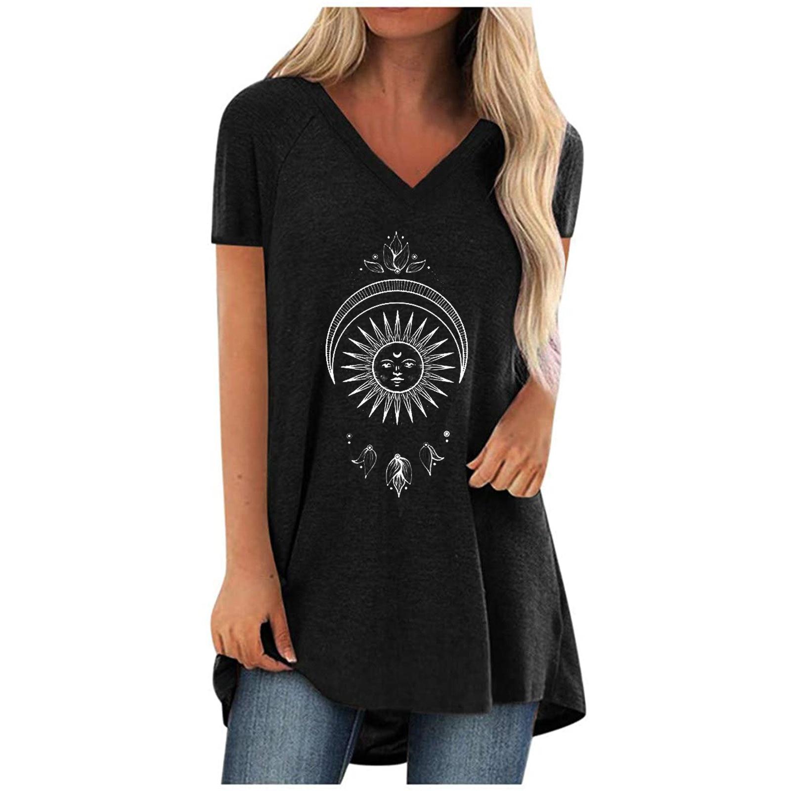 Camiseta con estampado 3D de sol y luna para Mujer, ropa informal...