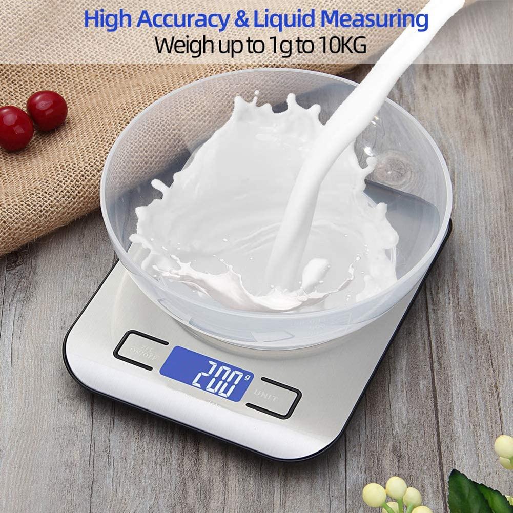 Báscula Digital de cocina para alimentos, pantalla LCD, escala de medición de cocina de 10KG, resistente al agua para Hornear en Casa acero inoxidable
