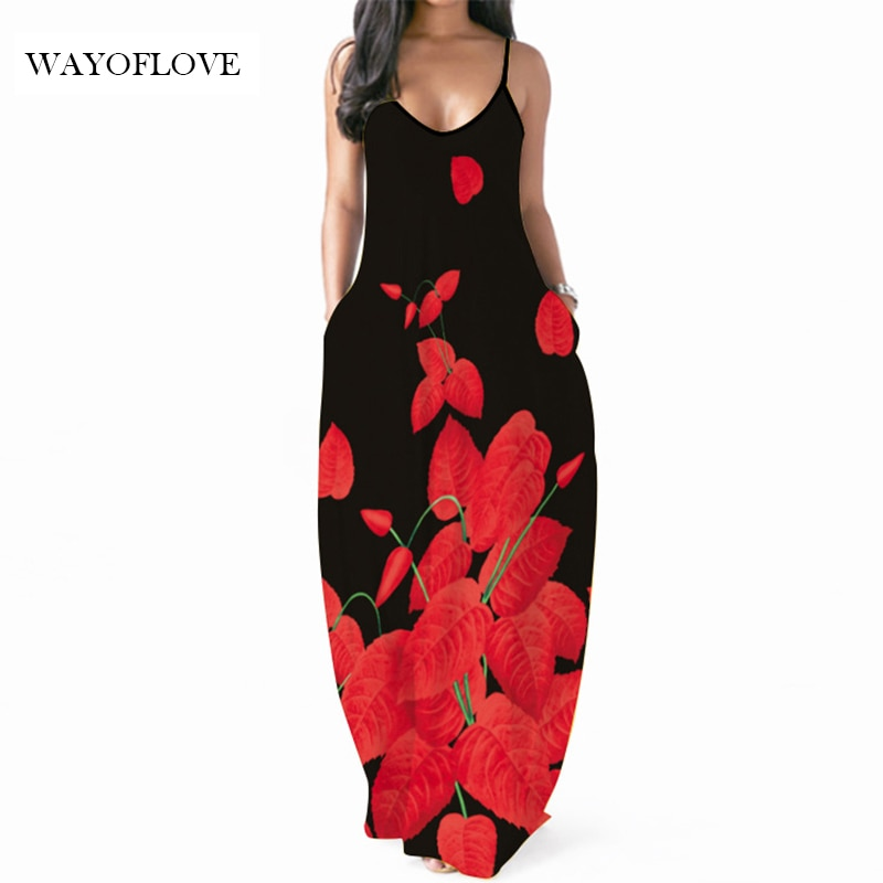 WAYOFLOVE Red Leaf Printed Dress 2021 Sexy Black Robe Dresses Summer Sundresses Beach Party Dresses