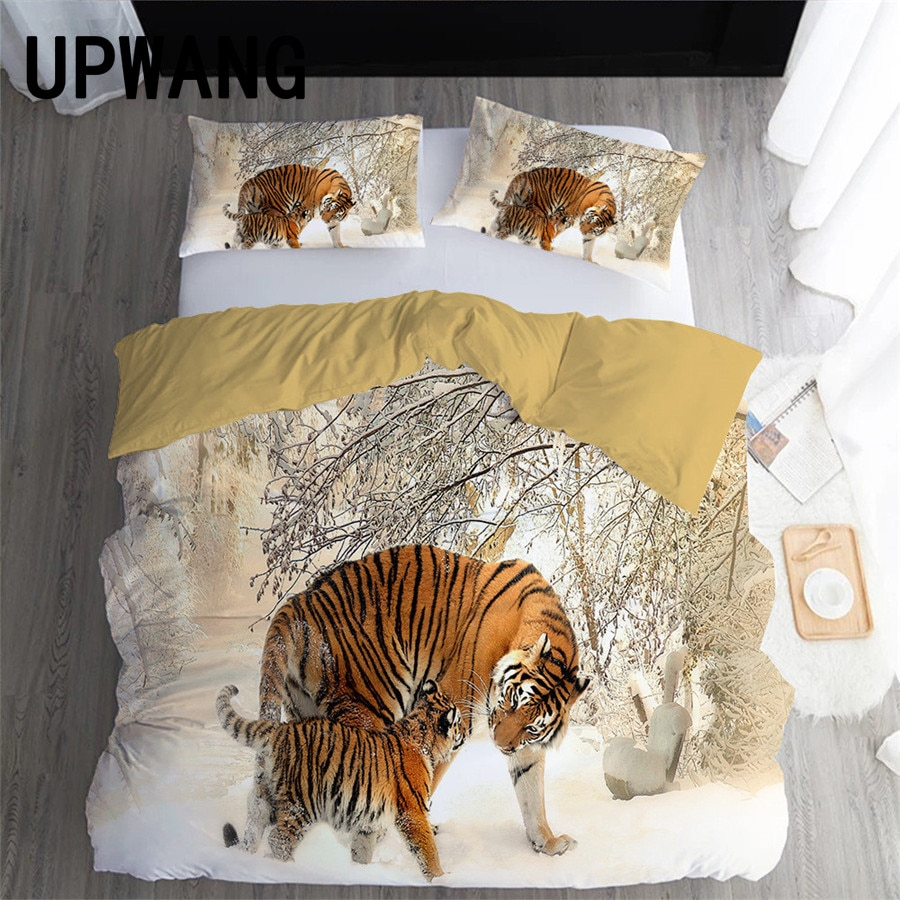 UPWANG 3D Bedding Set Tiger Animal Printed Duvet/Quilt Cover Set Bedcloth with Pillowcase Bed Set Home Textiles #LH14