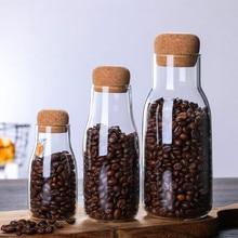 Usine en gros verre café grain pot de stockage en verre théière fleur thé transparent scellé bois doux couvert fleur théière