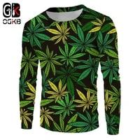 ogkb green leaves 3d printed man sweatshirts harajuku weeds long sleeves casual fashion smoke leaf pullover funny style shirts