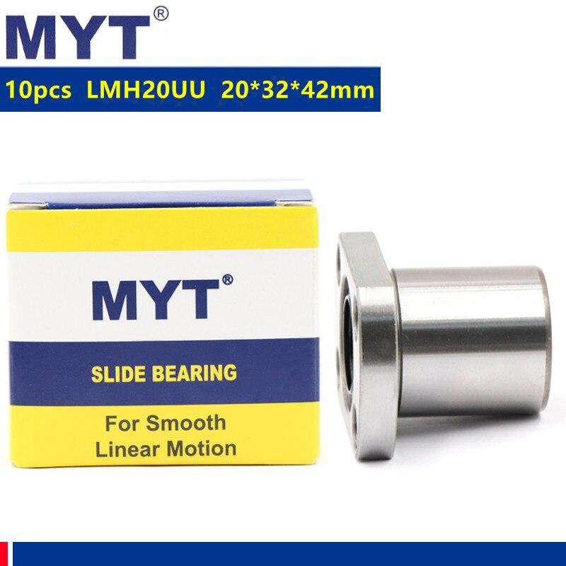 10 قطعة MYT عالية الدقة LMH20UU 20*32*42 ملليمتر البيضاوي شفة رولمان بلي خطي الحركة ل 20 مللي متر نك راوتر ثلاثية الأبعاد أجزاء الطابعة