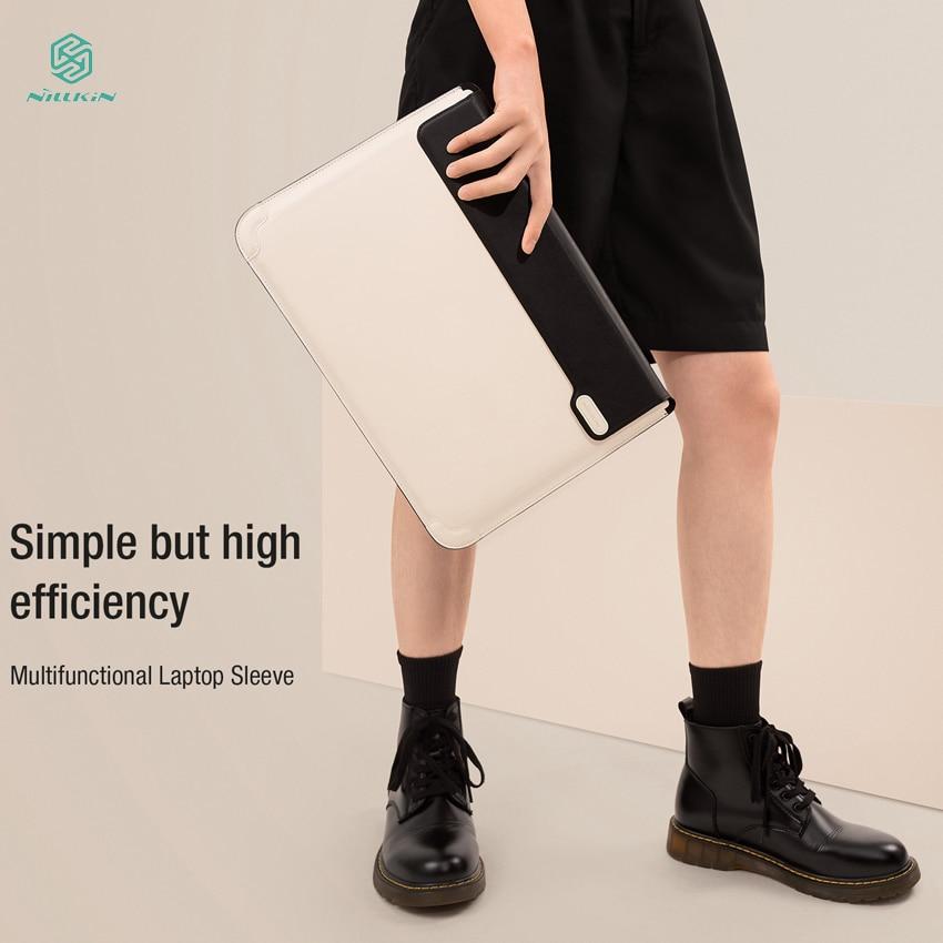 NILLKIN تنوعا حقيبة لاب توب مقاومة للخدش بولي Leather جلد التغطية الكاملة كفاءة مكتب قابل للتعديل حامل حقيبة لاب توب