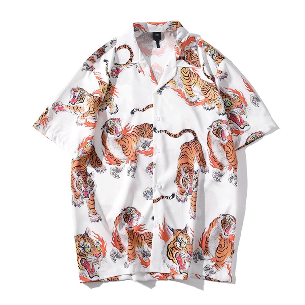 Camisa hawaiana de manga corta para hombre, blusa de algodón y lino...