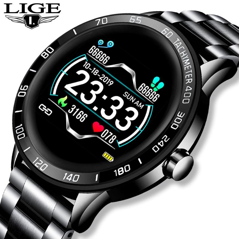 LIGE-ساعة رياضية متصلة للرجال ، ساعة ذكية مقاومة للماء مع مراقبة معدل ضربات القلب وضغط الدم ، لأجهزة iPhone ، 2019