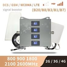 LTE B20 800 850 1800 2100 2600 Mhz amplificateur cellulaire à quatre bandes 4G répéteur de Signal GSM 2G 3G 4G amplificateur de Signal Mobile DCS WCDMA