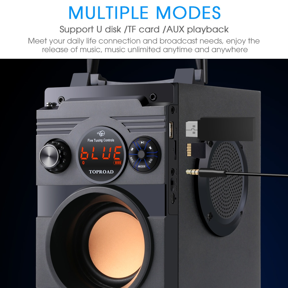 XIAONI Portable Bluetooth Speaker Wireless Stereo Big Powerful Subwoofer Bass Speakers Boombox Support FM Radio TF AUX USB enlarge