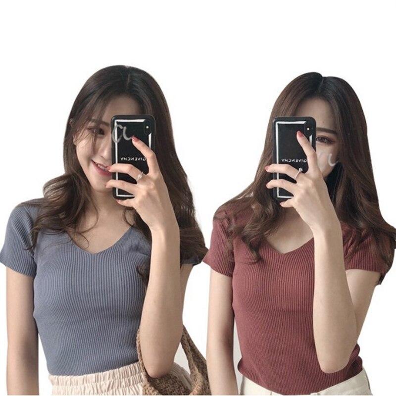 Basic Tops Tee Casual Summer V-neck Knit Tshirt Women Short Sleeve Sexy Slim Top Jacket Girl Female