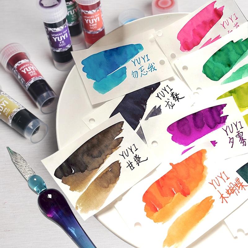 Перьевая ручка, цветные чернила, чернила без углерода, градиентные цвета, перо без порошка, стеклянная ручка, чернила, Звездные цветные черн...