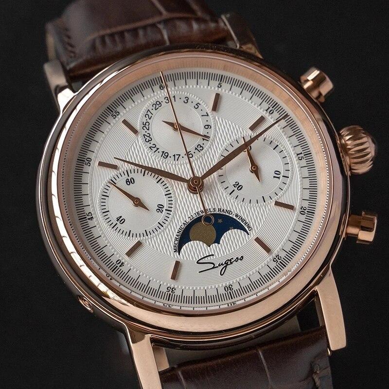 Sugess st1908 movimento gaivota relógio mecânico relogio masculino relógios dos homens 2020 cronógrafo retro relógio piloto safira romano