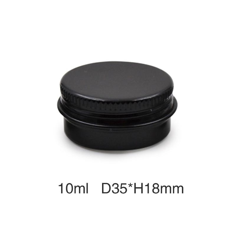 Caja de botes de lata redondas de aluminio y Metal de 10g de 50 Uds., caja de tarro de crema vacía negra de 10ml, Envase de bálsamo de labio de tapa roscada