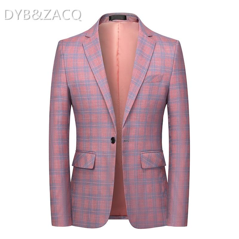 ماركة DYB & ZACQ سترة بلازر منقوشة وردي بيج أزرق فاتح للرجال 6XL بلازير هومينز غير رسمية زي رجالي بدلة رسمية جواكت 6XL