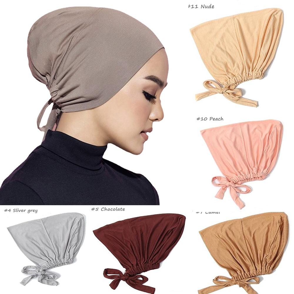 Модные мусульманские головные уборы из вискозы для женщин, шапки из мерсеризированного хлопка, однотонные головные уборы, шарфы, шапки, эла...