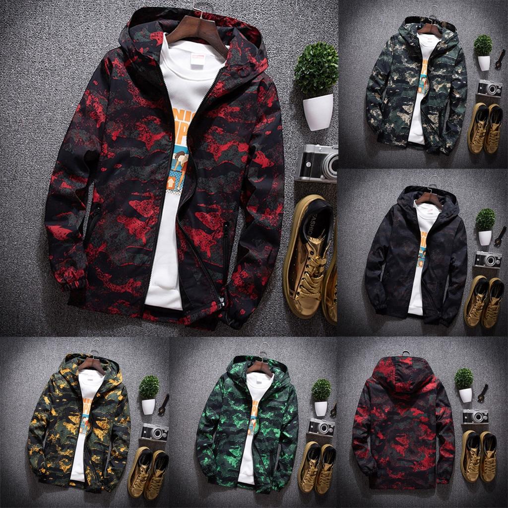 Chaqueta para hombre de JAYCOSIN otoño Casual moda camuflaje impresión más tamaño Sudadera con capucha delgada cremallera Hip Hop chaqueta de talla grande #45