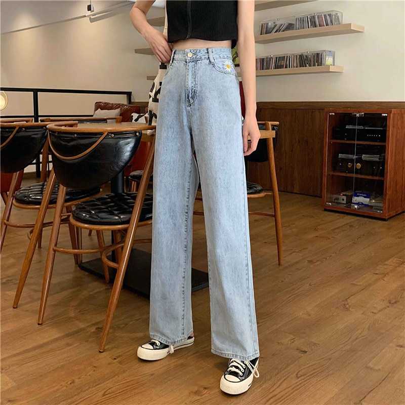 Jeans Women's Summer 2021 New Ins Little Daisy Embroidered Loose High Waist Ripped Wide Leg Pants Mo