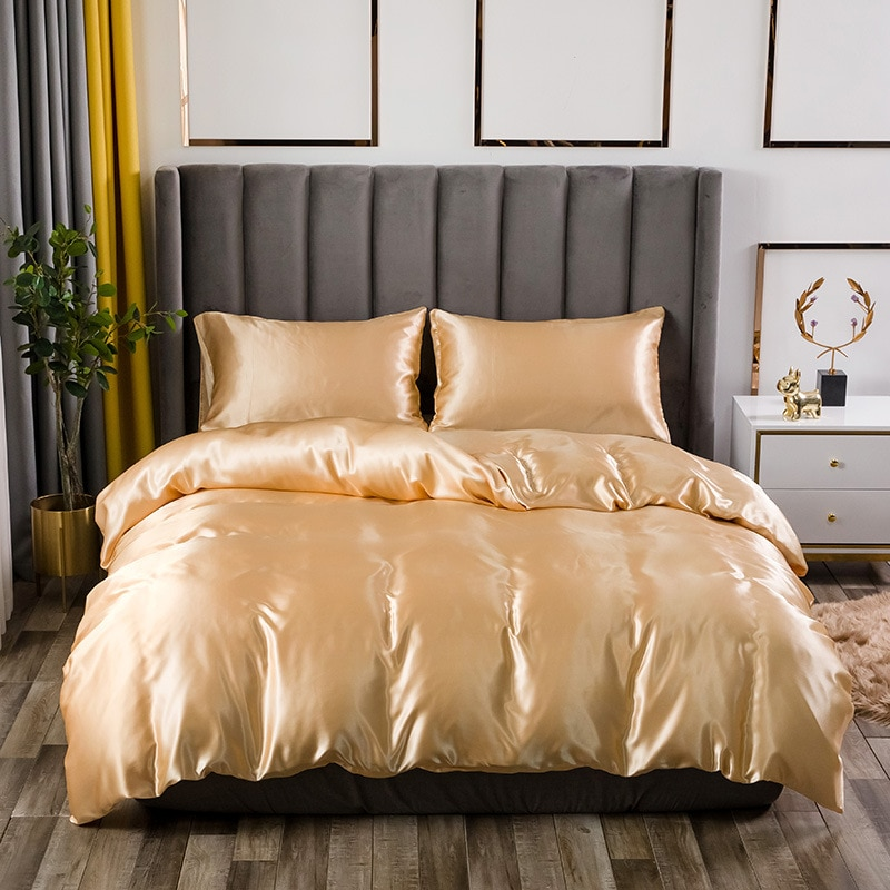 Pure Color Satin Silk Bedding Set Summer King Queen Double Size Bed Linen Luxury Bedcloth Duvet Cover Bed Flat Sheet Pillowcase