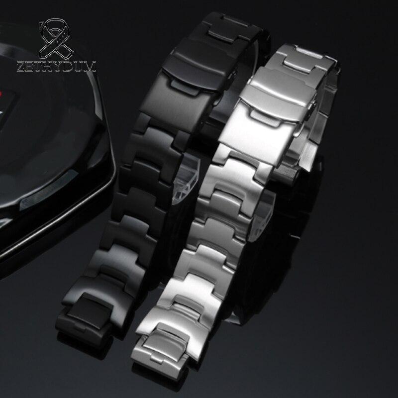 Pulseira de pulseira de metal sólido de prata masculina PRW-6000/6100/3000/3100 pulseiras de aço com pulseira feminina acessórios de extremidade convexa 16mm
