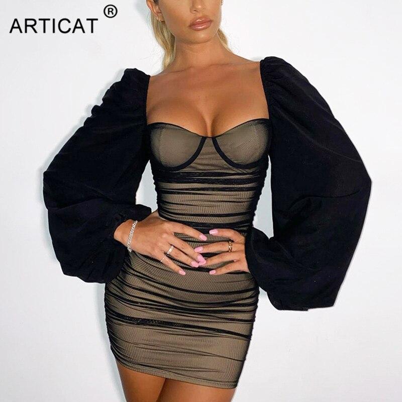 Женское мини-платье без бретелек Articat, черное французское романтичное платье с рукавами-фонариками для вечеринки и клуба, 2021 | Женская одежда | АлиЭкспресс