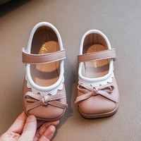 2021 butterfly knot kids shoes for girl new autumn cute bordered princess leather shoes for wedding party baby shoes girl e06251