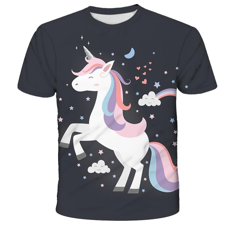 Детская Яркая футболка с единорогом для девочек, футболка с коротким рукавом для мальчиков, топы, детская одежда с мультяшным принтом, детск...