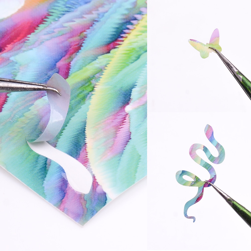 16/8/6 colores Flame & Snake arte de pegatina para uñas tira de láser de papel de aluminio DIY transferencia autoadhesivo Slide Nail pegatinas para uñas