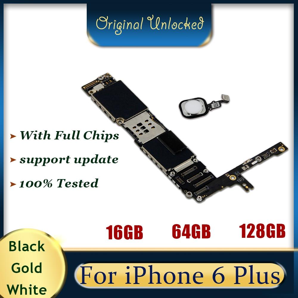 Placa base Original para iPhone 6 Plus, placa base con huella digital con Touch ID, desbloqueado, placa base, Sistema iOS, 16GB 64GB