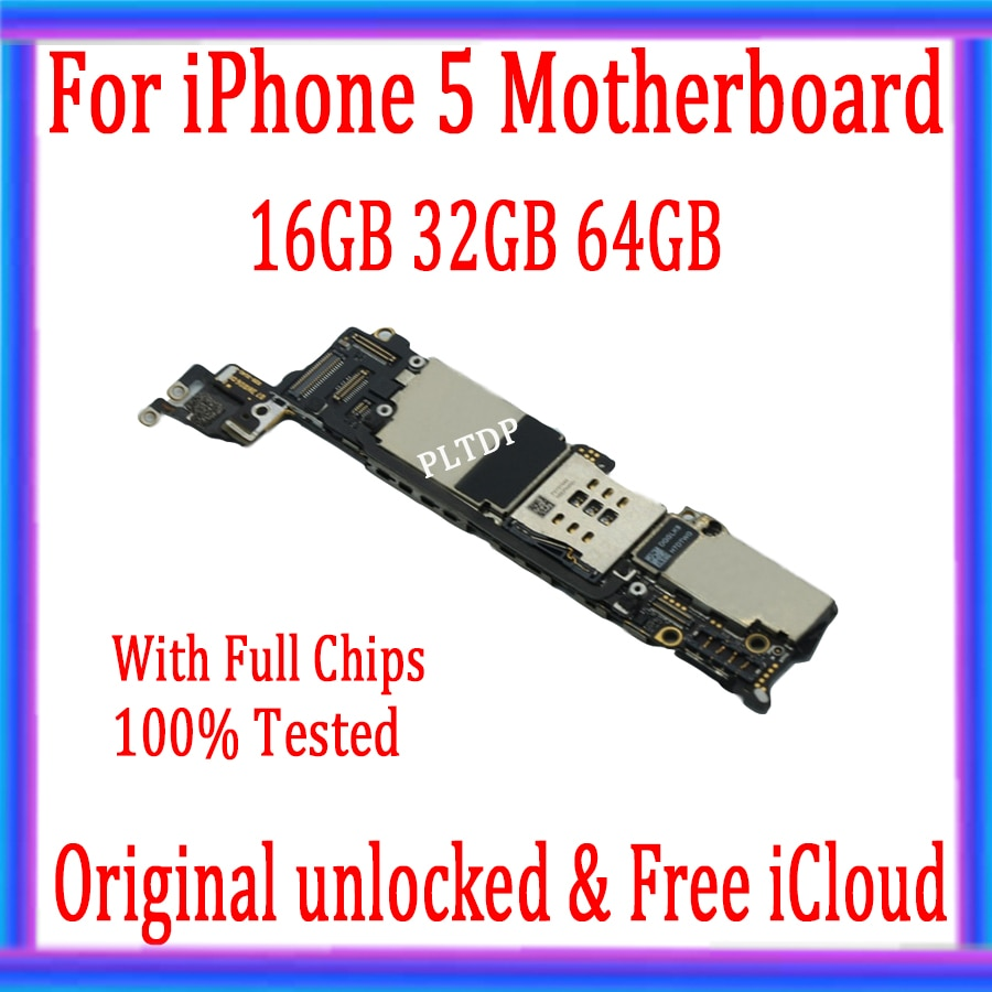 Tested Good Working Original 16GB 32GB 64GB Motherboard for iPhone 5 5g Factory Unlocked Mainboard Logic Board with IOS system