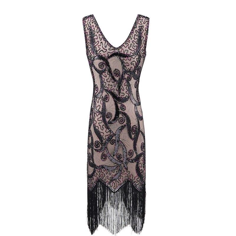 Xxxl plus Women 's Flapper Dresses 1920s V Neck Beaded Fringed GREAT Gatsby Charleston Mother of the