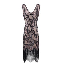 Xxxl plus Women 's Flapper Dresses 1920s V Neck Beaded Fringed GREAT Gatsby Charleston Mother of the