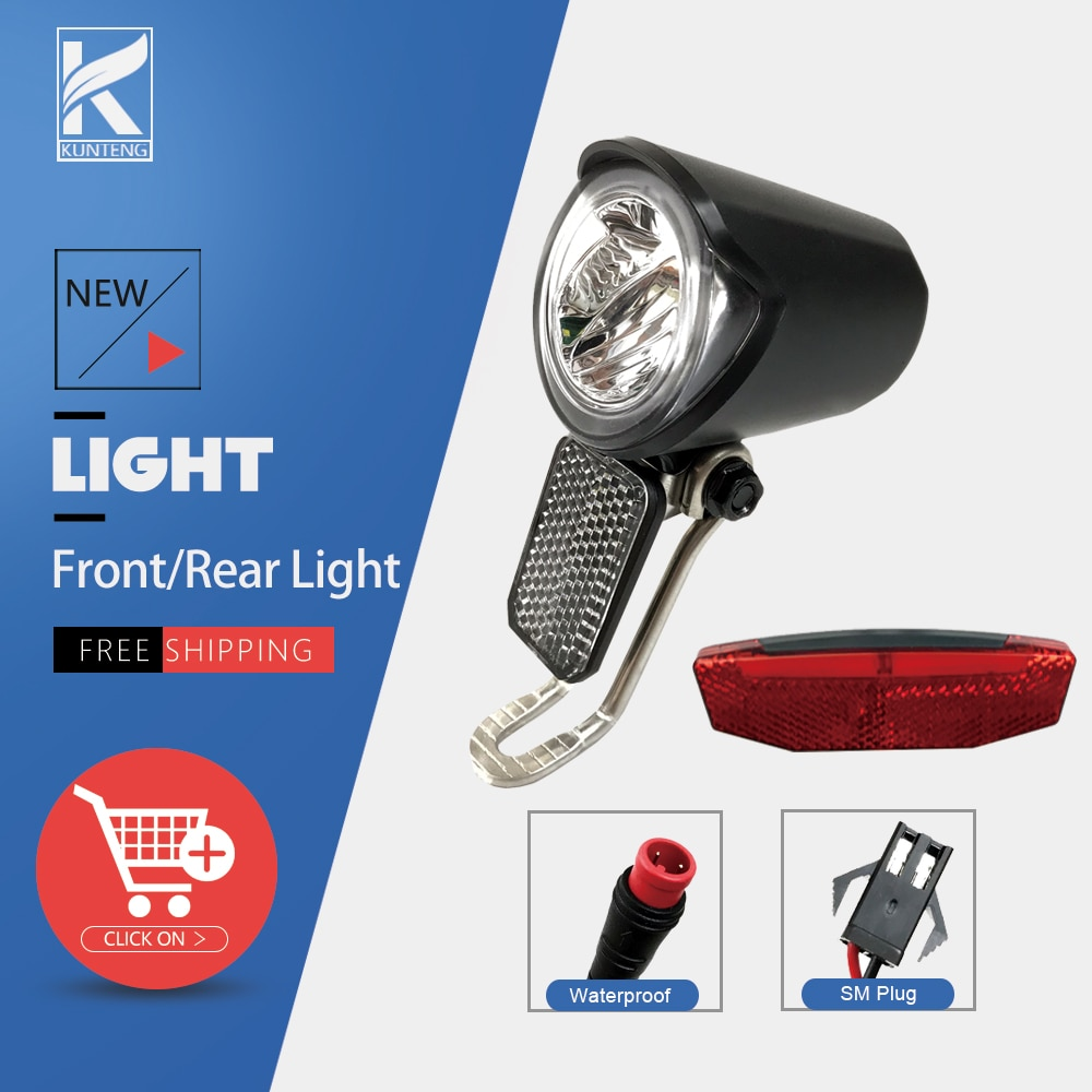 6V-72V E-bike Rear Light Electric Bicycle Tail Light E-scooter Night Safety LED Warning Rear Lamp Waterproof/SM Connector