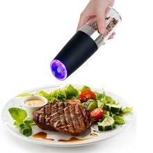 Moulin à sel et à poivre électrique   En acier inoxydable, automatique, pratique, broyeur à épices, Moedor Pimenta, outil de broyage de cuisine