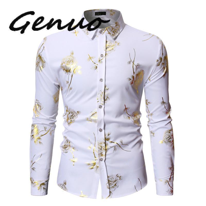 Camisas con estampado Floral de rosas doradas para hombre, camisas Steampunk de marca 2020, Camisa blanca de manga larga para fiesta de boda, Camisa Masculina bronceadora