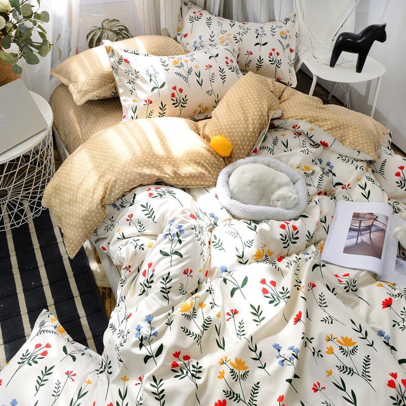 Juego de cama de flor azul blanco con patrón de universo de conejo sábana de dibujos animados edredón cubierta completa doble reina tamaño king