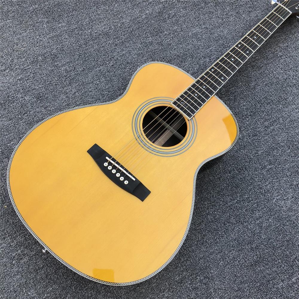 Guitarra acústica de fábrica personalizada de estilo amarillo OM, encuadernación de espina de pescado guitarra de abeto sólido superior OM, envío gratis