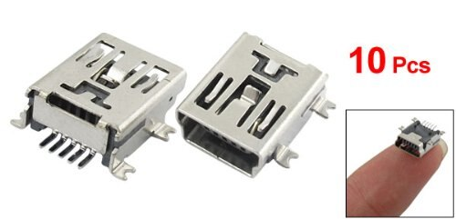 SODIAL(R) 10 x Mini USB 5 enchufe con pines hembra soldadura conector adaptador con enchufe