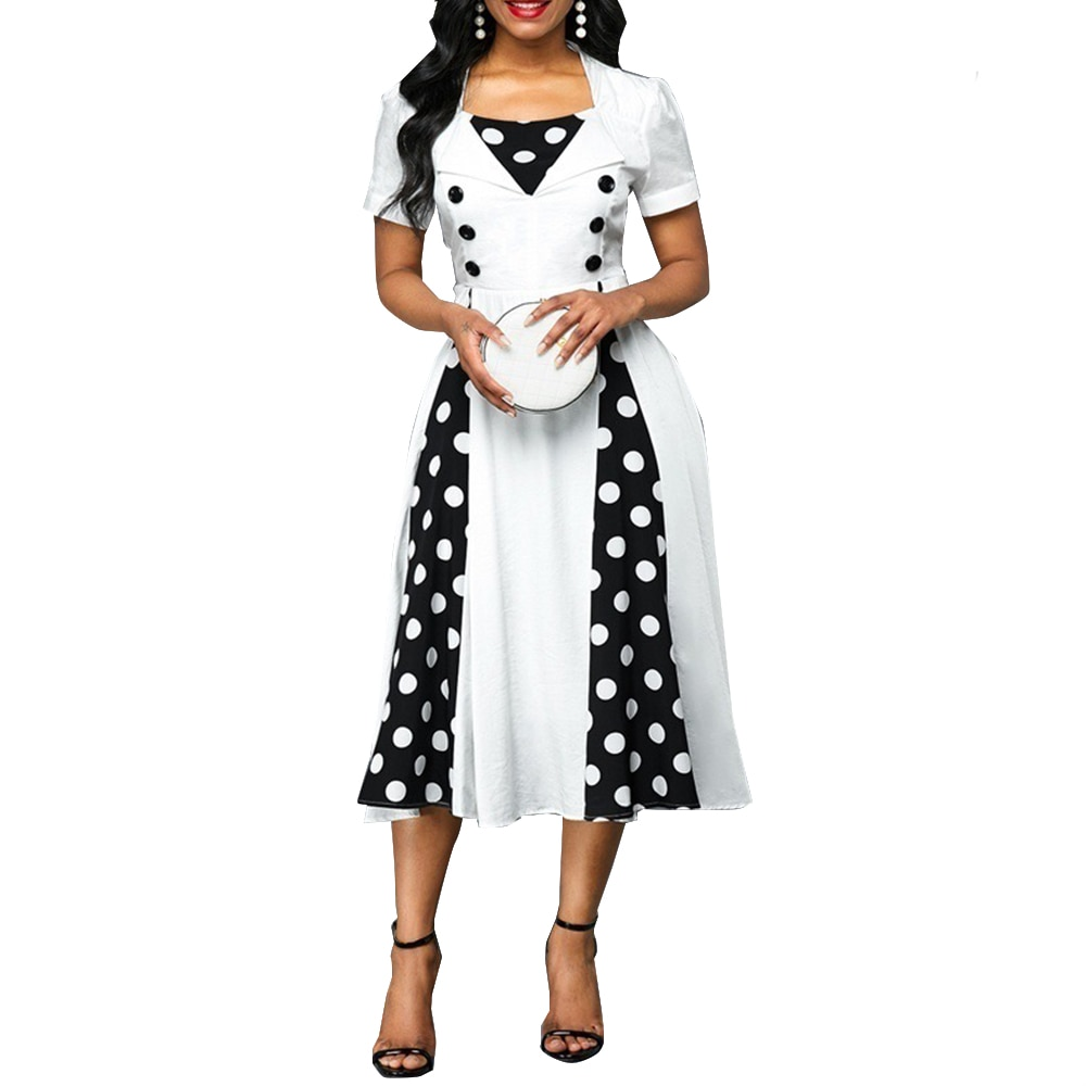 Woman Dress 2021 Summer Casual Plus Size Slim Patchwork Dot Print Ball Gown Dresses Women Sexy Vintage Office Long Party Dress vintage sexy print patchwork bodycon dresses women 2021 summer autumn casual elegant slim office party dress plus size 5xl