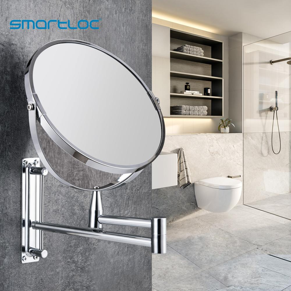 bathroom mirror antique red copper double side make up mirror dressing room round magnifying cosmetic mirror wall mounted nba631 smartloc Extendable  8 inch 1X5X Magnifying Bathroom Mirror Smart Mirror Makeup  Wall Mounted Mirror Bathroom Mirror Cabinet