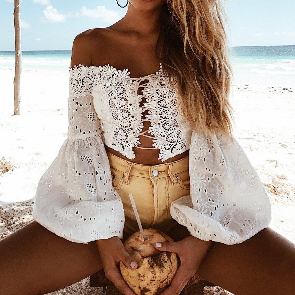 Sexy de talla grande de encaje top con mangas acampanadas mujer hueco fuera de hombro Blusa de encaje de cuello largo mangas elegante de moda