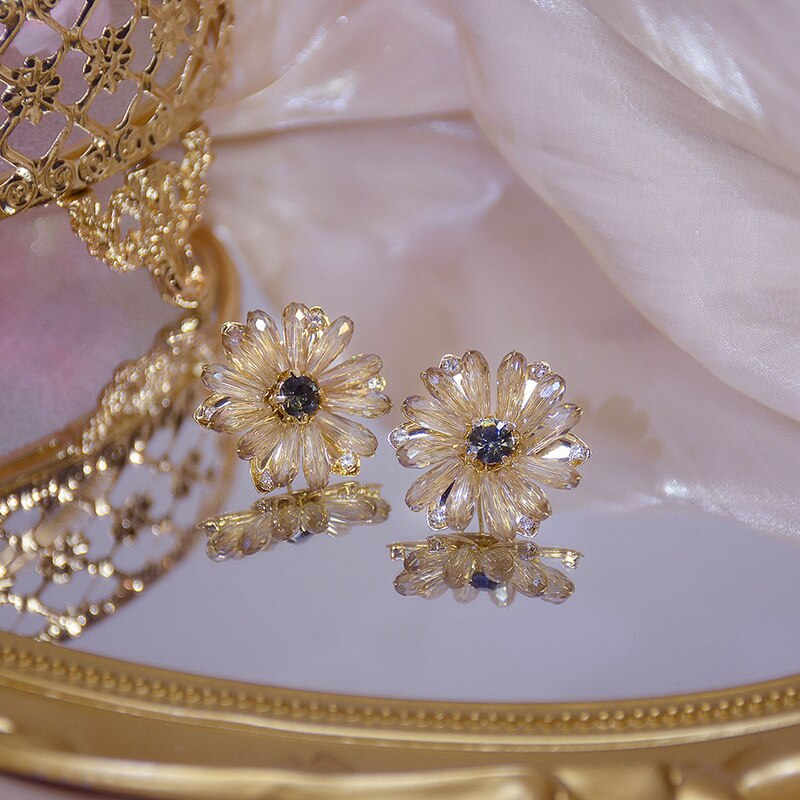 Exquisite Koreanischen Stil 14k Reales Gold Daisy Frauen Ohrring Bling Kristall CZ Blume Stud Ohrring Böhmen Schmuck Anhänger Geschenk