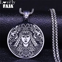 2021 fashion ireland forest goddess stainless steel chain necklace women silver color necklaces jewelry collares n4066s02