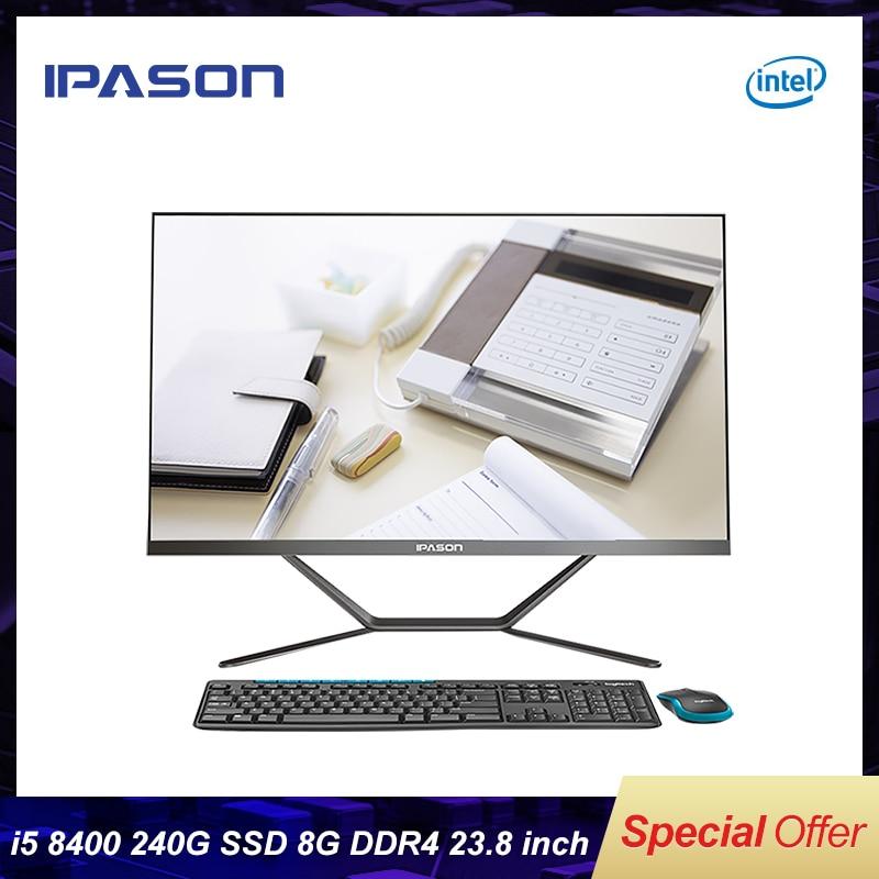 IPASON сенсорный экран все в одном ПК 23,8 дюймов Intel 6 ядро игровой компьютер i5 8400 240G SSD DDR4 8G Оперативная память WI-FI Bluetooth NarrowMini ПК