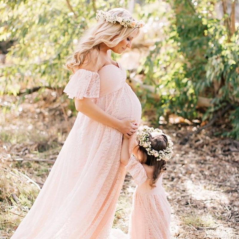 Vestidos de maternidad de encaje para el embarazo ropa de embarazada Maxi vestido de boda para mujeres Sexy sesión de fotos accesorios de fotografía ropa